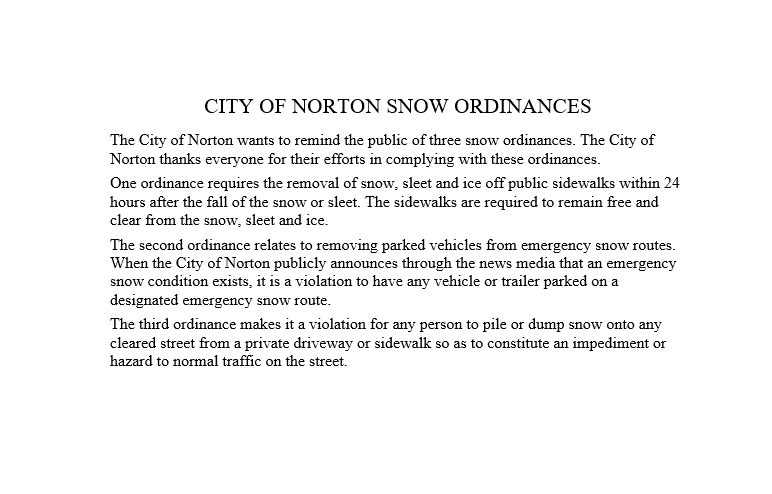 Snow Ordinances